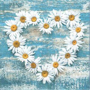 4 single paper decoupage napkins. Daisy, flowers, heart. blue, rustic -1035