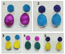 Elegant Agate Druzy Silver Plated Stud Cum Double Sided Jacket Earring Jewelry