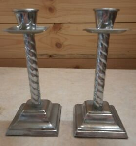 """Pair Of Vintage Silver Toned Metal Candlesticks. 6"""" Tall."""