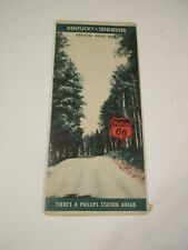 Vintage Phillips 66 Kentucky Tennessee Oil Gas Station Travel Road Map~1940 Pop