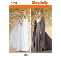 Simplicity Pattern 1551 Misses' Costume Princess Gown & Cape LOTR Style 16-24
