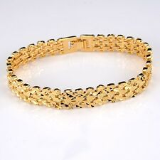 "18K Yellow Gold Filled Mens/Womens Bracelet 11mm Chain 8""Link GF Charms Jewelry"