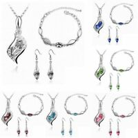 Women Crystal Necklace Earring Bracelet Silver Plated Wedding Bride Jewelry Set