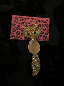 New Gold Crystal Enamel Cute Fox Betsey Johnson Charm Animal Brooch Pin