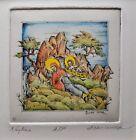 """ϕ DAN MITRA """"Religious Series #4"""" Hand Colored Embossed Etching Artist's Proof"""