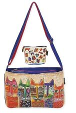 Laurel Burch Long Neck Cats Medium Large Crossbody Tote Bag + Makeup Pouch New