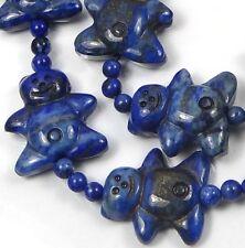 4 Natural Indigo Lapis Lazuli Gingerbread Men Beads 21mm