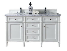"""60"""" JAMES MARTIN BRITTANY ALL WOOD COTTAGE WHITE DOUBLE BATHROOM VANITY, ANTIQUE"""
