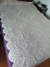 "New Vintage 116""x60"" Scranton Type lace Victorian Floral tablecloth Blend Ivory"