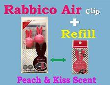 RABBICO Air Clip + Refill -Car,Home Air Freshener.Diax Japan -Peach & Kiss Scent