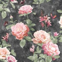 PORTFOLIO VINTAGE ROSE WALLPAPER PINK / CHARCOAL RASCH 215014