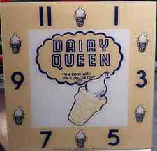 "*NEW* 15"" DAIRY QWEEN ICE CREAM HOT ROD SQUARE GLASS clock FACE PAM COCA COLA"