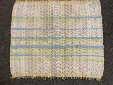 "Vintage Rag Rug- 22"" x 26"" -Off-White w/Blue/Lime Green Stripes-Vg- Bright- Sale"