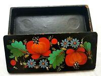 Vintage Soviet wooden box casket hand painted glove box