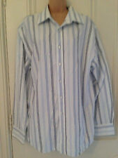 Red Herring Mens white shirt with blue vertical stripes size XL