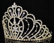 WEDDING RHINESTONE CRYSTAL CROWN TIARA W/ COMBS PAGEANT PROM BRIDAL 00469 GOLD