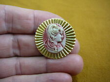 (cred-5) Woman hair down curls ivory lady red CAMEO round brass Pin Pendant