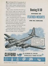 1948 Clifford Oil Cooler Ad Boeing B-50 Superfortress Bomber Aircraft Aviation