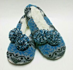 Cozy Women's Blue Knit Ballet Slippers Pom-Pom Size-6/7