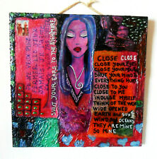 """Original ART Mixed Media on Recycled Wood """"Pain"""" 2005, Woman, Entries, Red, Pink"""