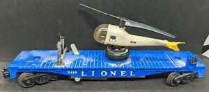 POSTWAR LIONEL TRAINS - 3419 HELICOPTER CAR , blue, vintage!
