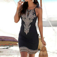 Women Halter Neck Boho Print Sleeveless Casual Mini Beachwear Dress Sundress Hot