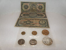 Lot of 3 Mexico pesos notes 1,5, 10 pesos dated 1941 and 1 1964 sealed mint set