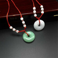 Men Women's Glass Jade Round Pendant Necklace Amulet Good Lucky Charm Jewelry