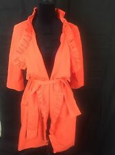 """J Crew """"Gayle"""" Orange/Red Ruffle Belted Trench Coat Sz 6 Free Shipping"""