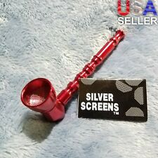 NEW Small Red Bamboo Smoking Pipe Tobacco Herb Portable Metal Pocket Size