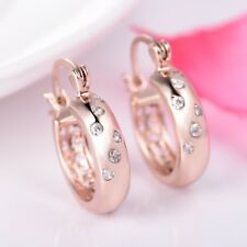 Bling Bling Rhinestone Crystal Rose Gold Filled Snap Closure Round Hoop Earrings
