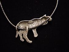 """JJ"" Jonette Jewelry Silver Pewter Lounging Cat Pendant 16"" Necklace black chain"