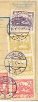 TSCHECHOSLOWAKEI 1919 Paketkartenabschnitt 10, 30 senkr.Paar u. 400 (H) QUALISCH