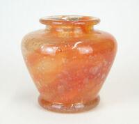 Steuben Orange Rose Cluthra Art Glass Vase. Unsigned. Ground and Polished Pontil