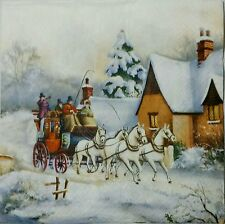 VINTAGE VILLAGE WINTER 2 single LUNCH SIZE paper napkins for decoupage 3-ply