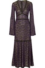 NWT ROBERTO CAVALLI Purple Lace Trimed Crochet Knit Maxi Dress Size: 10