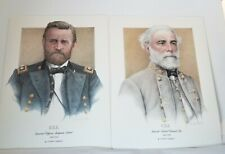 General Robert E. Lee & U. S. Grant art prints by Mike Gnatek 1990