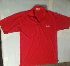 Coca Cola Polo Shirt Top, Short Sleeve, Red, Size Large <C3> xx