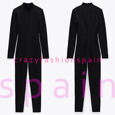 ZARA WOMAN NWT SS20 BLACK RIBBED SHOULDER PAD JUMPSUIT ALL SIZES REF: 5039/473