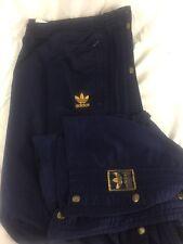 Vtg Adidas Track Pants Trefoil Tear Away Snap Navy Blue GOLD Size XXL 2X