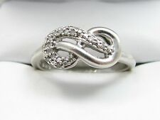 Fine Diamond Infinity Love Knot Sterling Silver Band Ring Size 6.75