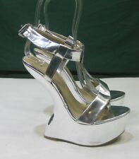 "US Women Size 7    New silver 6.5""High Wedge Heel less 2""platform sexy shoe"