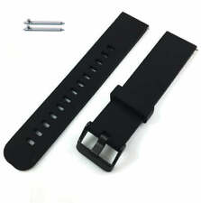 Black Soft Silicone Replacement Watch Band Strap With Quick Release Pins #4102