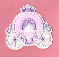 """PRINCESS"" Carriage - Pink - Embroidered Iron On Applique Patch"