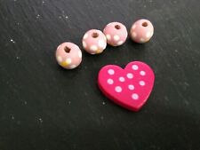 Wooden beads and Heart Findings.