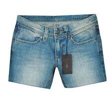 PRADA $270 distressed faded blue denim pink stitched short shorts 42-IT/6-US NEW