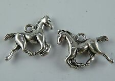 40 Silver/Gold/Copper/Bronze Color 3D Horse Charms 19x15x3.5mm 17511