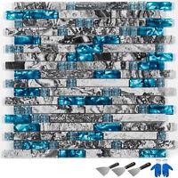 Glass Backsplash Tile Caribbean Sea style Gray Marble Mosaic Tile Sea Blue 12pcs