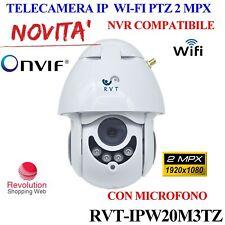 TELECAMERA IP WIFI PTZ FULL HD CON MICROFONO 2 MPX P2P COMPATIBILE CON DVR NVR