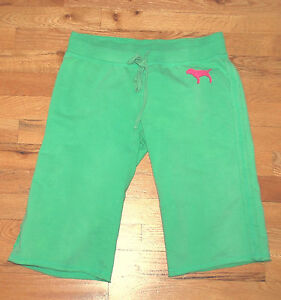 EUC! Victoria's Secret PINK crop sweats sweat pants green (XS) PHI BETA PINK